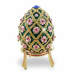 Faberge egg with pink rosebuds