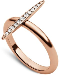 Michael Kors Rose Gold-Tone Crystal Pavè Matchstick Ring