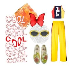 """""""🐝"""" by yawelkys on Polyvore featuring Home Decorators Collection, Facetasm, Fila, Dries Van Noten, yellow, comfy and sweatsuits"""