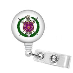 Omega Psi Phi Fraternity Shield Name Badge ID Holder - Designs by Dee's Hands  - 1