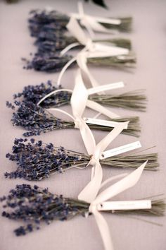 bunch of lavender as excort cards and wedding favors