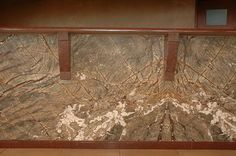 Bar facade with Rainforest Brown marble