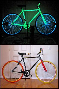 """DIY Night Bike. From Instructables here. The trick is the type of paint chosen to paint the bike:  """"The typical craft store glow paint is zinc-sulfide based in an acrylic medium, if it is colored pigments are used. The problem with using pigments is that these colors absorb most of the light, and thus the glow isnt as bright.Instead, phosphorescent paint (used for this bike) is strontium based and glows 10 times longer and brighter. Impressive!"""""""