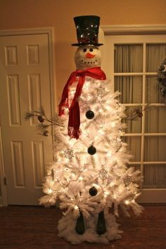 ) snowman tree...would be cute outside. You can buy the white trees at Dollar General for $20.00...Oh my gosh how adorable. #Christmas Unusual Christmas Trees, White Christmas Trees, Christmas Snowman, Christmas Tree Themes, Winter Christmas, Christmas Crafts, Christmas Holidays, White Trees, Christmas Ideas