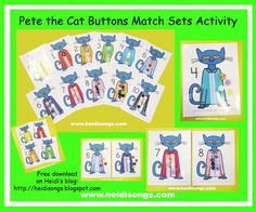 Pete the Cat Buttons Match Sets Activity (free; from Heidi Songs)