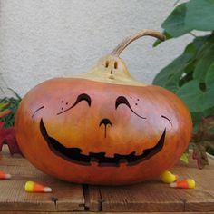 Gourd Halloween Jack-O-Lantern Ghost Top Orange Carved Spooky Fall Harvest Candy Bowl Pumpkin.