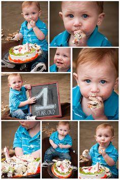 Boy Cake Smash with 1 year chalk board! Love it