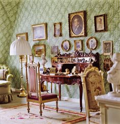 BEDROOM BY LOUIS RÉMY DE LA FOSSE A Victorian desk in an upstairs bedroom of His Royal Highness Moritz, Landgrave of Hesse's private residence in Germany stands near portraits of family. The Hessian dynasty started at the beginning of the 13th century when Elizabeth (1207–1231), daughter of a Hungarian king, married Landgrave Ludwig IV of Thuringia (1200–1227).