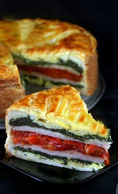Tourte Milanese - layers of herbed eggs, ham or turkey, cheese and vegetables encased in puff pastry.  A great brunch stunner and easy!