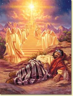"Genesis 28:10-22 Jacob left Beersheba and set out for Haran. When he reached a certain place, he stopped for the night because the sun had set. Taking one of the stones there, he put it under his head and lay down to sleep. He had a dream in which he saw a stairway resting on the earth, with its top reaching to heaven,  and the angels of God were ascending and descending on it. There above it stood the Lord, and he said: "" I am the Lord, the God of your father Abraham and the God of Isaac. I…"
