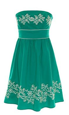 Green Tube Dress with Embroidery