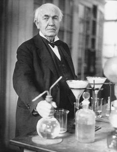Thomas Edison pretending to know what he's doing in his laboratory, early 1900's.