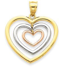 14k Tri-color Dangle 3 Heart Pendant #IceCarats