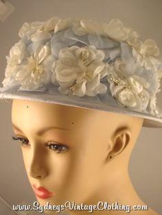 Baby Blue Flower Vintage 60's Hat SydneysVintageClothing.com