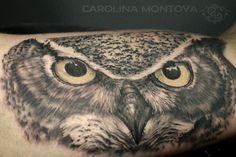 Owl tattoo by Carolina Montoya Buho Tattoo, I Tattoo, Black And Grey Tattoos, Owl, Bird, Spirituality, Animals, Beautiful, Pereira