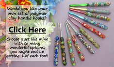Full set of susan bates crochet hooks with polymer clay handles and flowers on background Cotton Crochet Patterns, Crochet Stitches Patterns, Doily Patterns, Crochet Patterns For Beginners, Blanket Patterns, Crochet Sunflower, Crochet Flowers, Giant Sunflower, Fabric Flowers