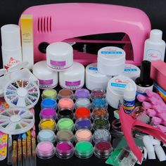 Professional nail decoration set, acrylic nail kit set or UV gel nail set including a 9W UV dryer lamp and...