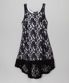 Look at this Lori & Jane Black & White Lace-Overlay Hi-Low Dress - Girls on #zulily today!