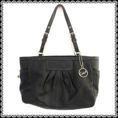 "COACH Black Leather Handbag Zip away closure. Has one zipped and two slide pockets with lavender lining. Approximately measures 8""H x 14""W x 4 1/2""Depth with 9"" adjustable strap to make it shorter or longer. Coach Bags Shoulder Bags"