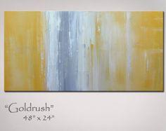 Abstract Art Yellow Gray Grey Abstract por RedMoonStudioArt en Etsy