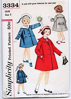 Simplicity 3334 Size 4 Vintage Girl's Spring Coat With Detachable Collar Pattern Uncut Coat Pattern Sewing, Sewing Patterns Girls, Simplicity Sewing Patterns, Sailor Collar, Detachable Collar, Kids Coats, Collar Pattern, Coat Dress, 1960s