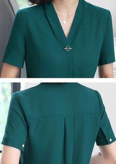 V-neck chiffon shirt women OL Summer formal short sleeve Casual loose blouse ladies office tops white s 9 Kurti Neck Designs, Blouse Designs, Casual Tops For Women, Blouses For Women, Ladies Blouses, Chiffon Shirt, Chiffon Tops, Chiffon Blouses, Print Chiffon