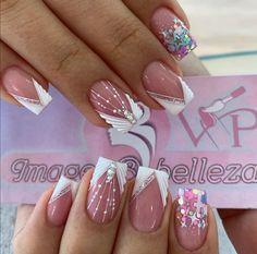 Rhinestone Nails, Bling Nails, Glitter Nails, Fun Nails, French Manicure Nail Designs, Nail Art Designs, Super Cute Nails, Pretty Nails, Hello Nails