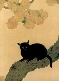 Hishida Shunso, Black Cat detail, 1910.