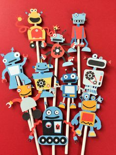 Robots cupcake toppers robot birthday party toppers by Fairfable Robot Cupcakes, Robot Cake, Robot Theme, Partys, 3rd Birthday, Cupcake Toppers, Party Time, Creations, Doughnuts