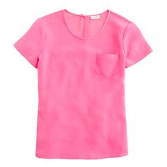 Silk crepe tee in bright fuschia   Luxe crepe de chine gets the pocket-tee treatment—and we get a favorite new top. Beautifully draped and finished off with thoughtful detailing (note the keyhole closure at the back), this tee is as effortless as it is elegant. Part of J.Crew Collection.