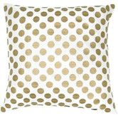 Found it at Wayfair - Poly Taffeta with Leather Applique Circles Pillow