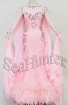 Bd2164 Feather Baby Pink Crystal UK8/US6 Tango Waltz Prom Dance Gown Low Back