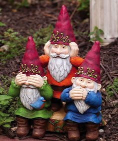 Take a look at this See, Hear, Speak No Evil Gnome Statue by Evergreen on #zulily today!