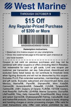Pinned August 29th: $15 off $200 at #WestMarine boat supplies #coupon via The #Coupons App
