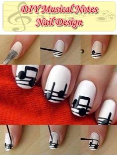 DIY Musical Notes Nail Design. I'm allergic, and can't wear nail polish, but I thought I should share this because it's cool!