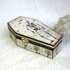White Coffin Box Skeleton Decor Decoupaged Halloween Coffin Trinket Jewelry Keepsake Goth Black and White Decorated Crystal Halloween Decor by rrizzart on Etsy