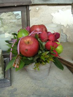 Centerpiece idea: Apples, Radishes , Bay leaves and Limes