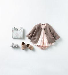 Zara Baby Girls Pink Dress with Cardigan Fashion Kids, Little Girl Fashion, My Little Girl, Little Fashionista, Blog Da Carlota, Look Zara, Outfits Niños, Kid Styles, Kids Fashion