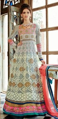 Gray Embroidery Soft Net Semi Stitched Designer Anarkali Suit