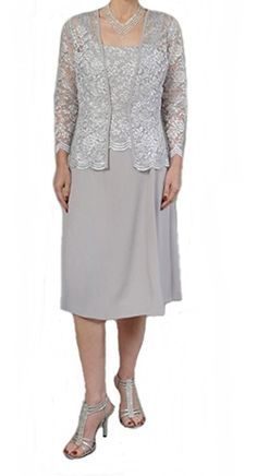 ff1a7033c30 Amazon.com  Womens Short Mother of the Bride Plus Size Formal Lace Dress  with Jacket (Small