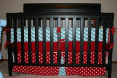 Gender neutral nursery. Red and blue chevron bedding