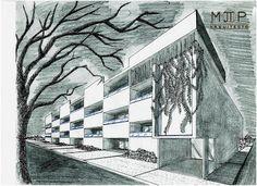 Bosquejando en ratos libres...  Proyecto: Edificio DH1 Arquitecto: Martin T. Piña Técnica: Lápiz, Tinta china - Mano alzada  #PinneappleMoments