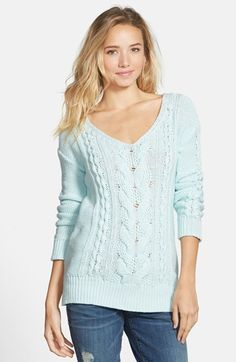 BP. Long Sleeve V-Neck Cable Pullover (Juniors) available at #Nordstrom-Ivory Egret or Blue Pastel-$44.00