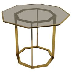 French Brass Octagonal Base Side Table | From a unique collection of antique and modern side tables at http://www.1stdibs.com/furniture/tables/side-tables/