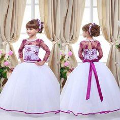 Plum Flower Girl Dresses Lovely Vintage White Ball Gown Baby Girl Birthday  Party Christmas Princess Dresses aacd1132084f