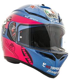Picture of actual helmet - AGV K3 SV Guy Martin TT Pink Blue