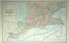 1892 Large Double Page Antique Map of Southwestern Ontario, Canada