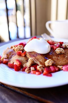 Strawberry Granola Pancakes. Oh, dear. Oh, me. Oh, my.