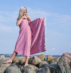 Strandtuch,Peschtemal,Badetuch,Handtuch, PINK  Sarayli  einfarbig, mit Fransen