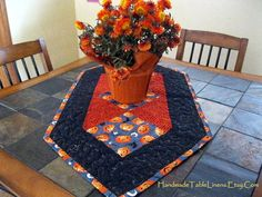 Fall Leaves and Pumpkins Table Runner Free by HandmadeTableLinens, $45.00